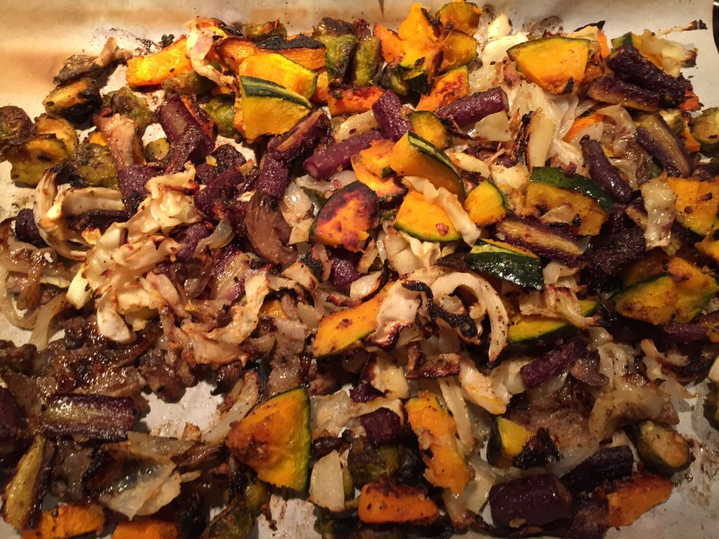 Roasted Veggies with Squash, Onions, Carrots and Brussels Sprouts